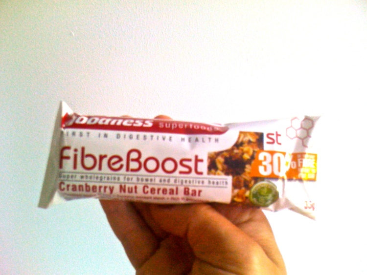 Just one of the bars I gave my friend from Goodness Superfoods- BARLEYmax high fibre bars. With 8g of dietary fibre for 500kJ, and containing resistant starch which is usually lost in processing, this bar is great for your gut health, digestive system, and keeping you full if you want to lose weight.