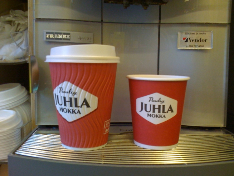 Coffee serve sizes in Finland - the large was similar to an Australian Small..so not even as big as a USA small!