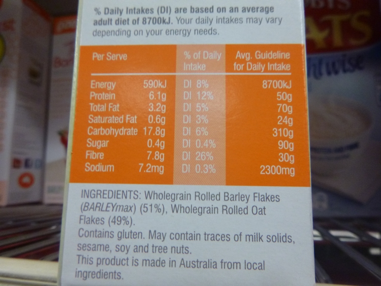 Barley and Oats 1st- impressive ingredients list and nutrition information panel for oats (and they are low GI even though they are 'quick' oats)