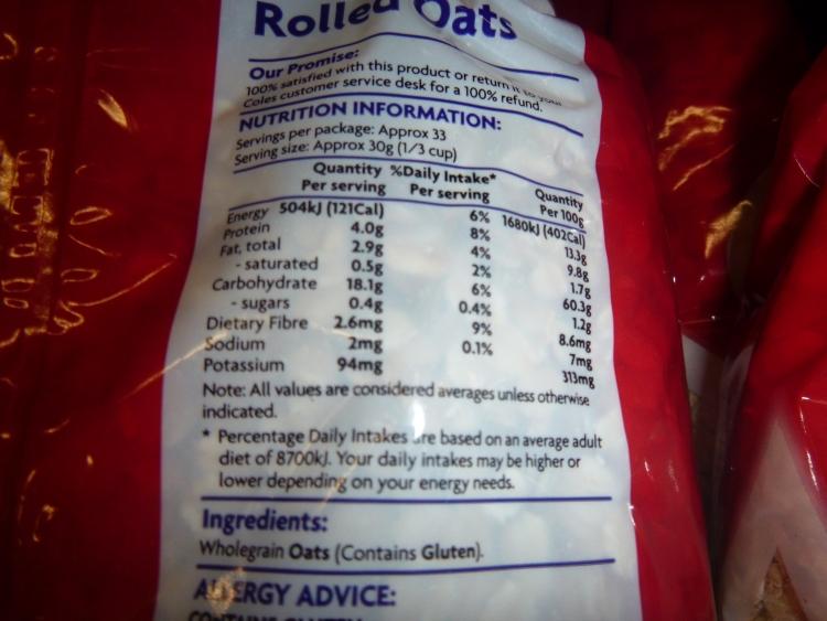Traditional oats - 3g fibre per serve