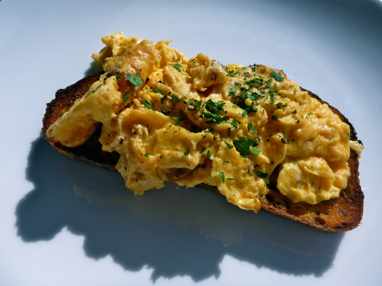 Scrambled eggs, have more than 2 eggs in them usually, and typically are made with butter or cream..just be smart about it.
