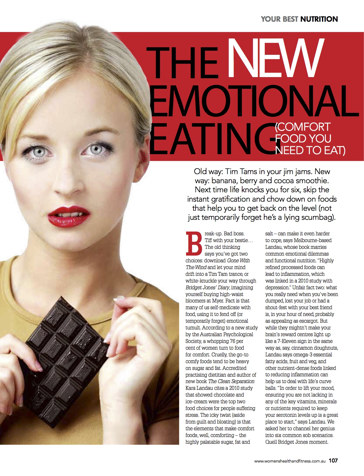 "Kara Landau providing dietary advice in Womens Health and Fitness national magazine on emotional eating following the release of her published book ""The Clean Separation"""