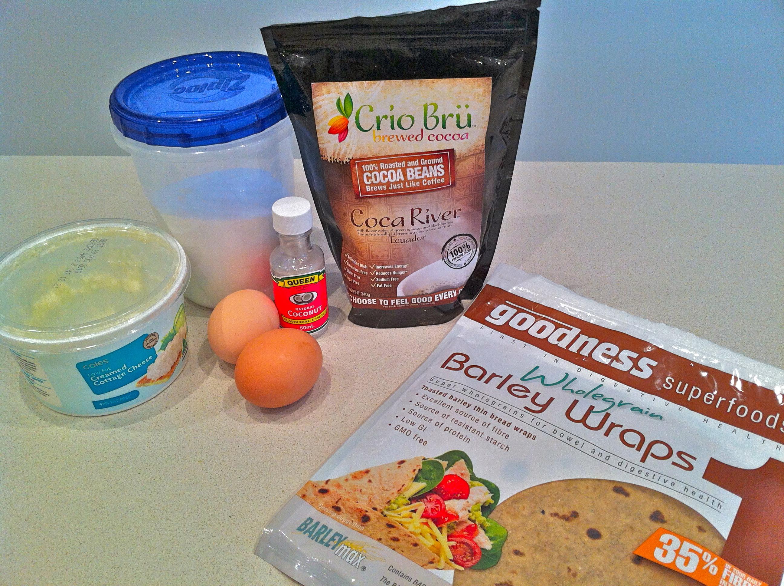 Ingredients: Natvia, Eggs, Crio Bru, Coconut essence, Goodness Superfoods BARLEYmax wrap, cottage