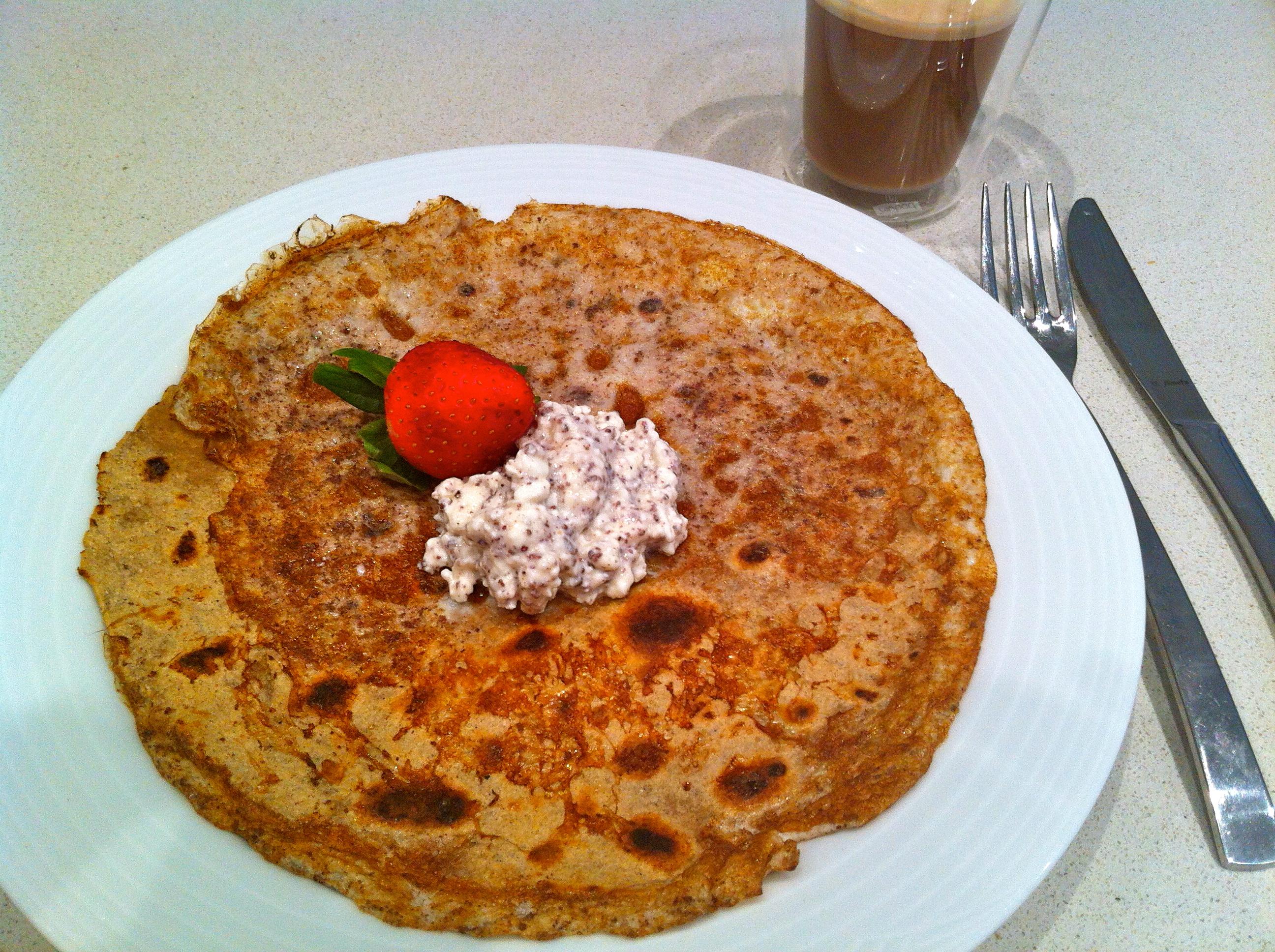 High protein, high fibre, no added sugar, chocolate, coconut, pancake!