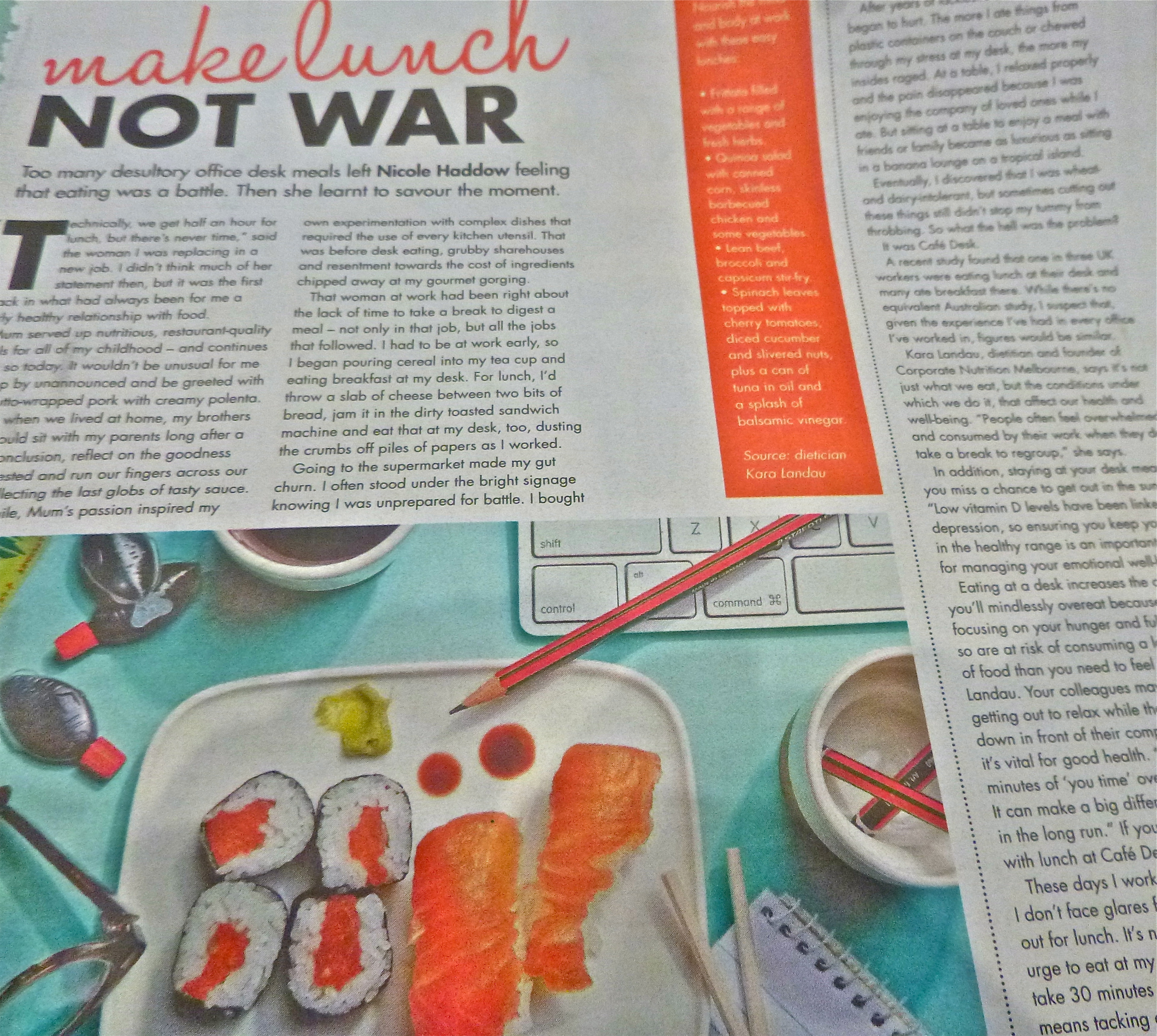 Kara Landau expert nutrition commentary on how to eat healthy as a busy corporate in the national media.