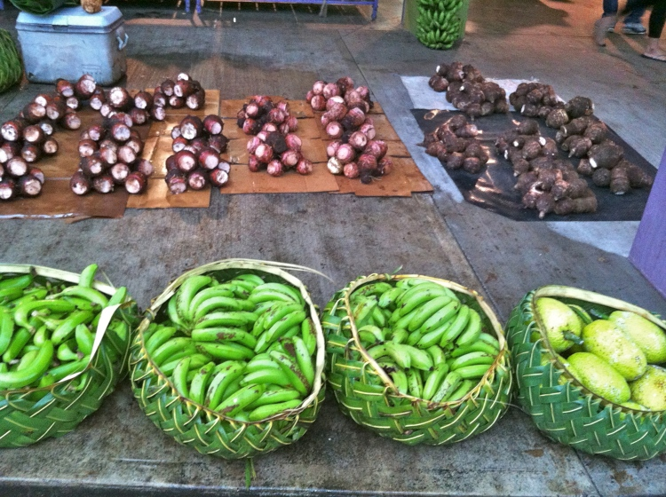 Travelling dietitian at the food market in American Samoa