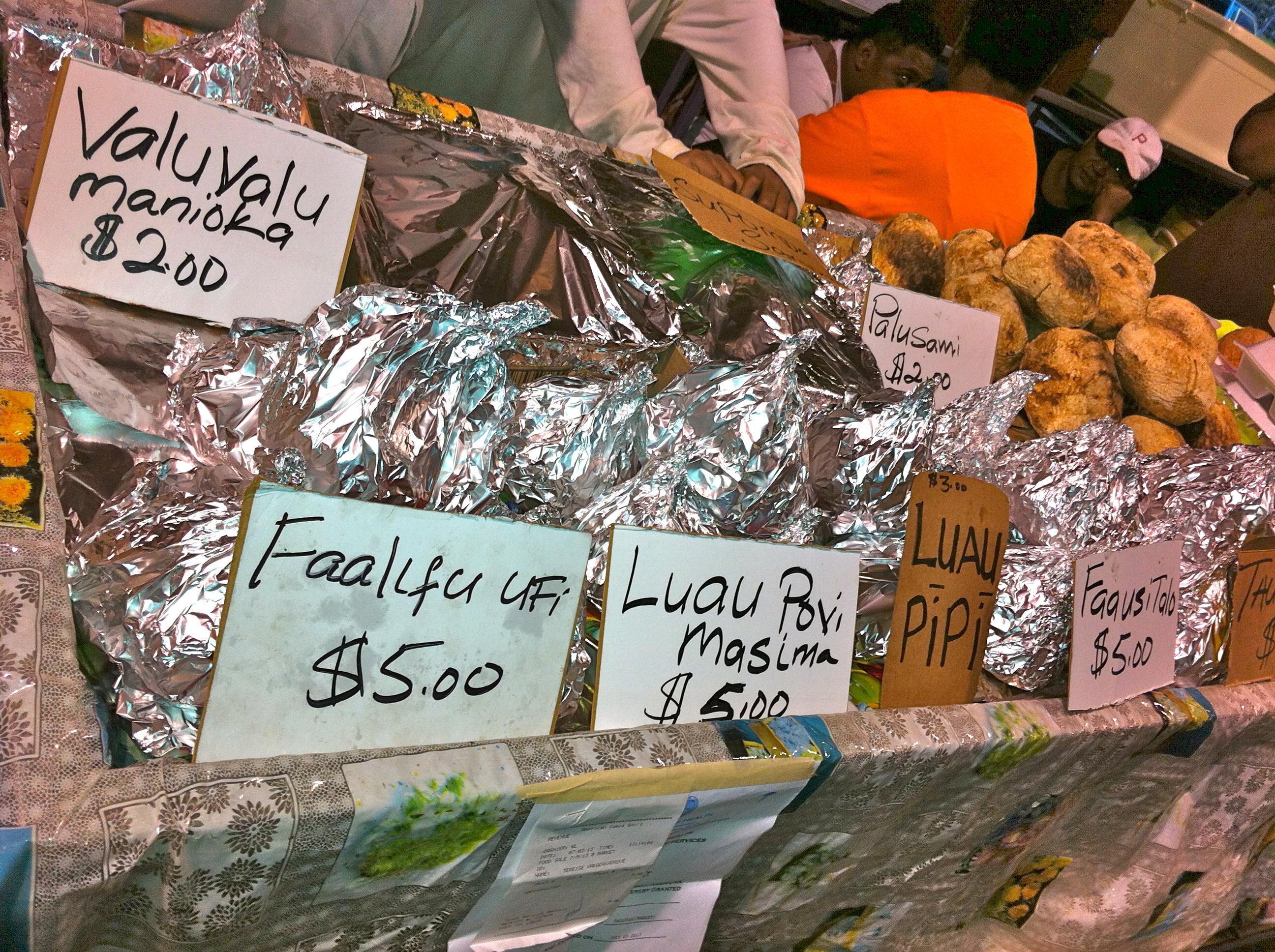 Taro, banana or rice with coconut cream at the market in American Samoa