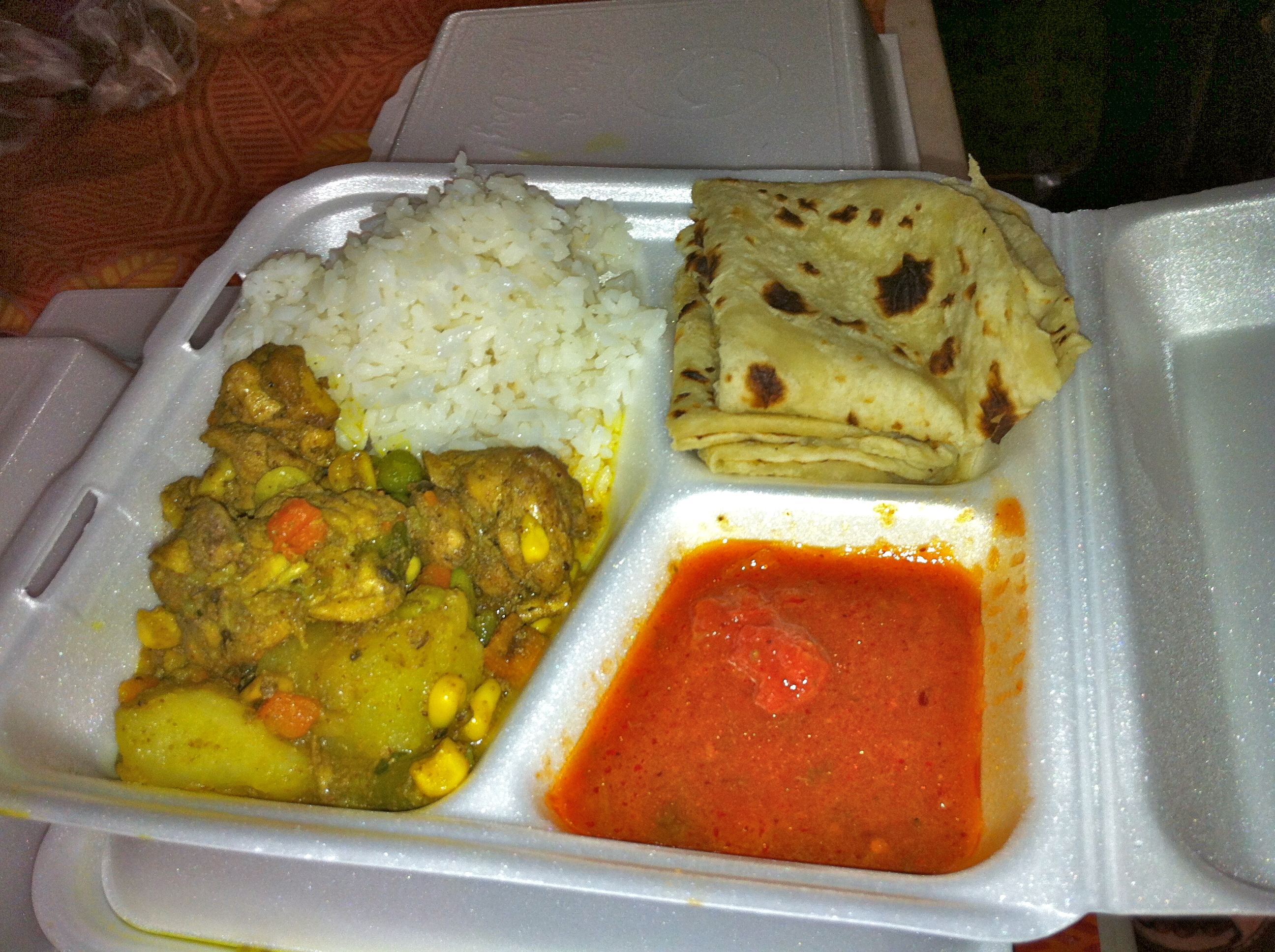Indian curry at the market..most portion controlled thing there..but definitely still high in calories