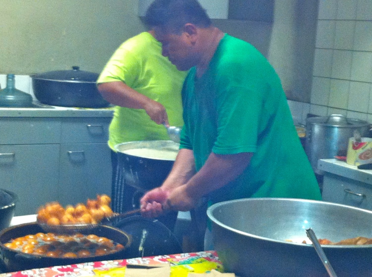 Banana Pancake, or Banana Donut as I would call it, being prepared in American Samoa. So popular here!