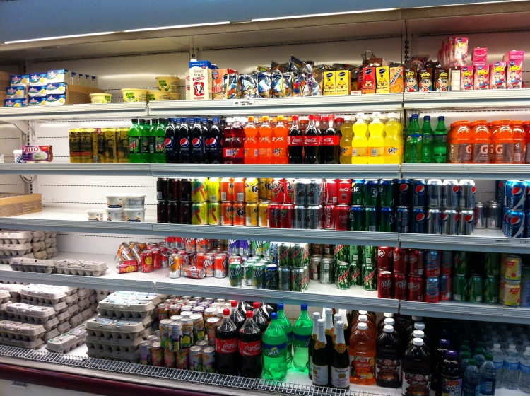 The whole fridge section in the supermarket, pretty much just soft drinks!
