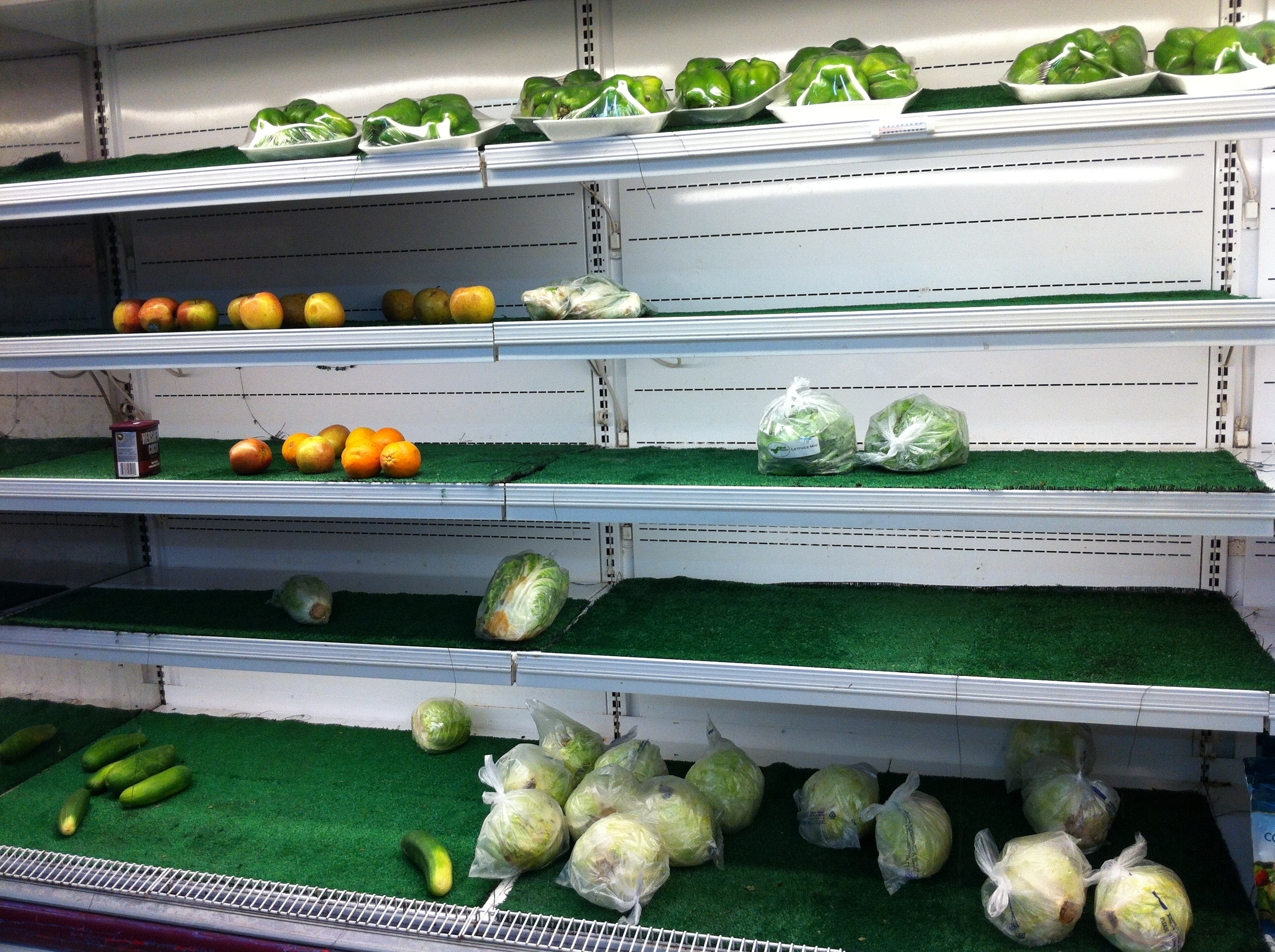 Fresh produce section in the supermarket...as you can see, tiny!