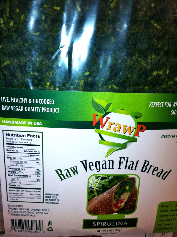 raw vegan flat bread made from spirulina without gluten or wheat or dairy