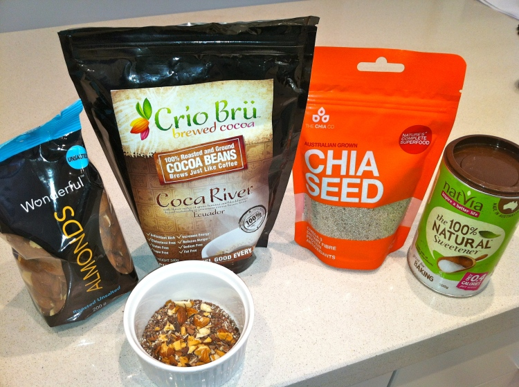 Travelling dietitians mix of crui bru cocoa, natvia, chia seeds and dry roasted almonds crushed...add a boost of nutrition and flavour to a range of dishes! #TDapproved