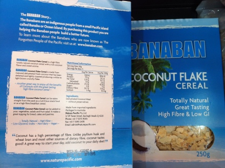Super high fibre gluten free coconut cereal