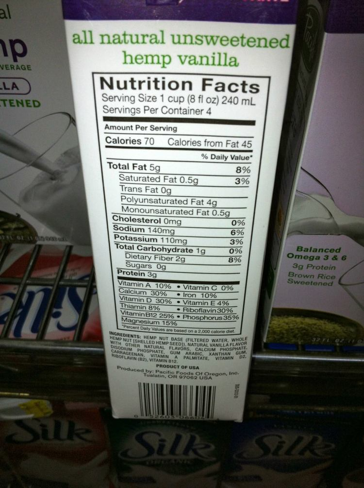 hemp milk nutritional facts