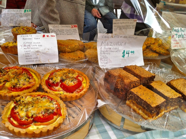 Cute baked goods with ingredients and information at union square market