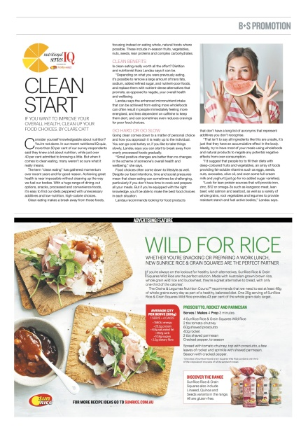 "Kara Landau, travelling dietitian, discussing ""clean eating"" in the Sunday morning lifestyle section of the newspaper throughout Australia - Body+Soul."
