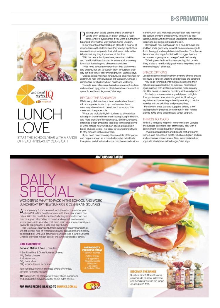 sunrice and kara landau in body + soul Australia newspaper