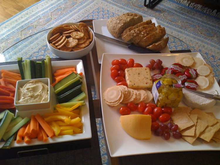 cheese and vegetable platters are always great at parties!
