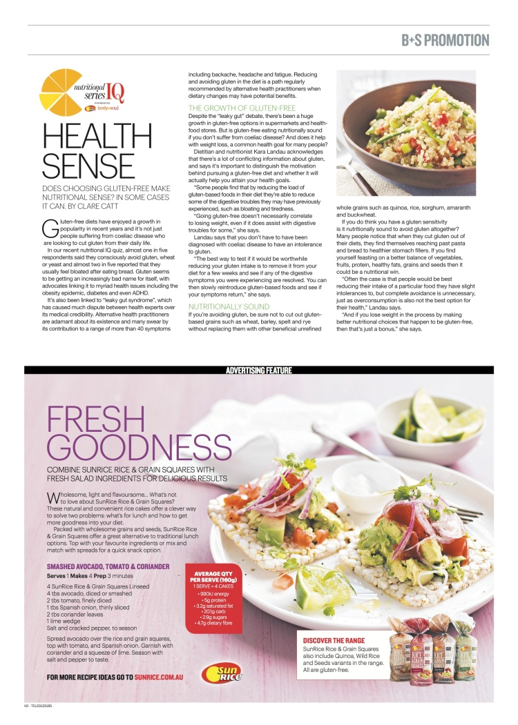 Going gluten free for weight loss - Kara Landau provides her expert opinion in Body+Soul Australia as an independent nutritionist through her work for SunRice Australia.