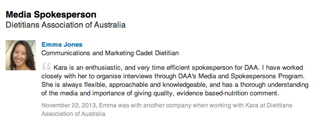 Recommendation from previous DAA communications contact for time spent as a DAA spokesperson