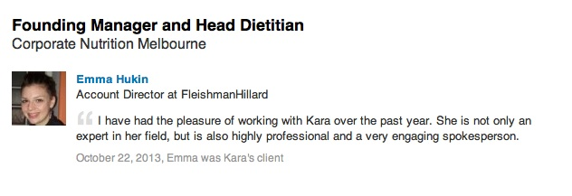 Kara Landau being recommended by a PR agent from Fleishman Hillard during her time as Australian spokesperson for the Wonderful Pistachios brand.