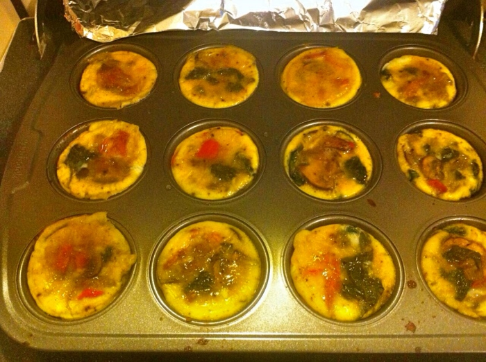 Playing chef and host to friends for Passover dinner. - Egg and veggie muffins, work a treat.