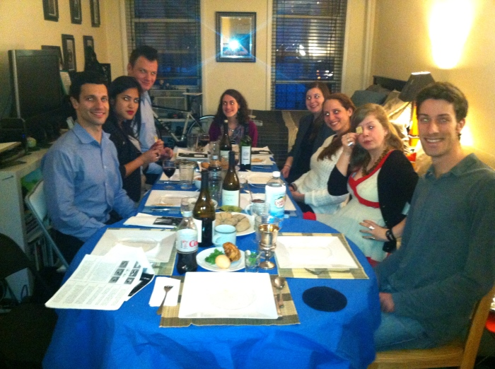 Playing chef and host to friends for Passover dinner.