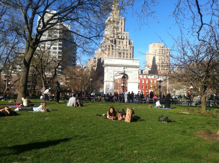 Washington square park a minute from home, gorgeous when its not super packed!