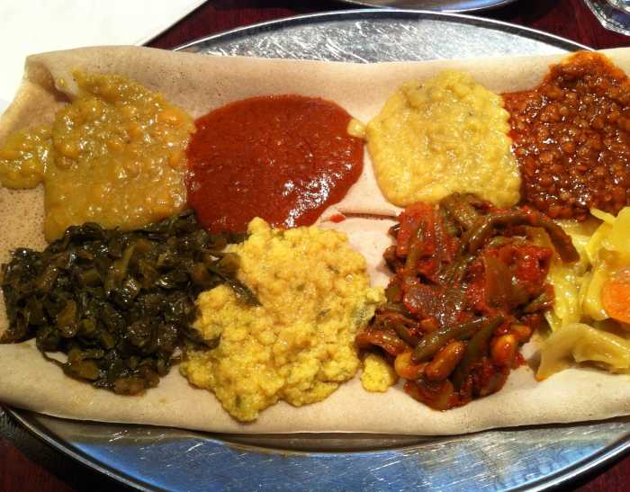 Ethiopian food in NYC - One of my absolute new favourites. Vegetarian mixed combo is filled with veggies and lentils, people probably don't need the extra slices of injera that come with the dish to control their calorie intake, but overall it is the most filing and delicious food ever. If you haven't tried it..please do..you may turn into me and have something you enjoy as much as the standard Thai as a dining out or take away option!