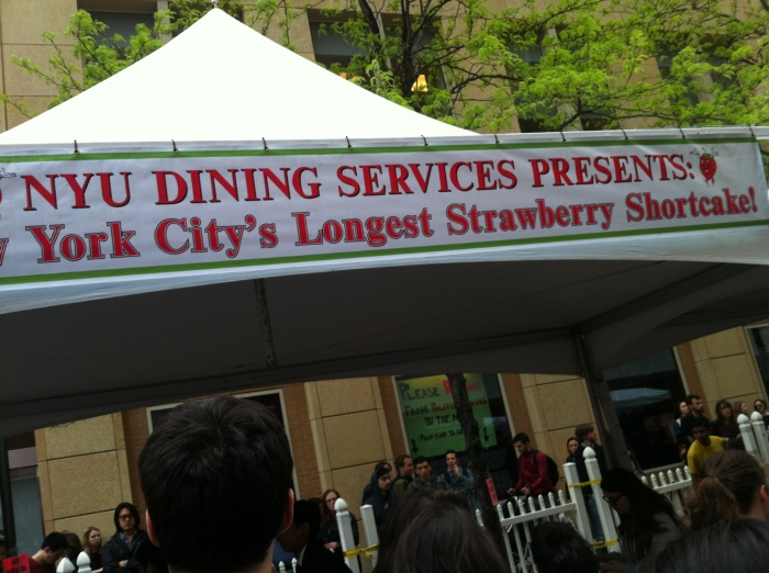 NYU hosting an event in the street near my home..I still have no idea why they were celebrating strawberries that day!