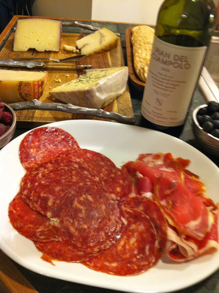 Friend plays host each weekend for wine, cheese, fruit, and plenty of discussion. Always a nice way to end the week.