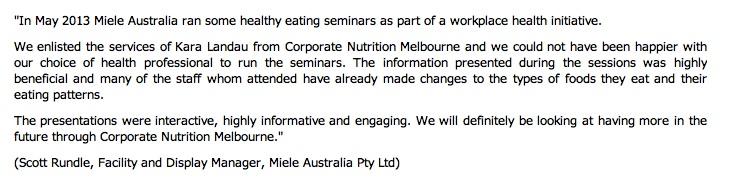 corporate nutrition presentation corporate nutrition seminar melbourne nutritionist sydney nutritionist workplace wellbeing kara landau travelling dietitian