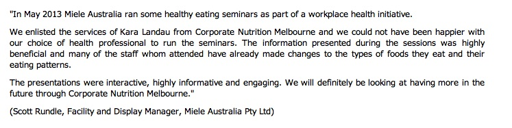 corporate nutrition presentation corporate nutrition seminar melbourne nutritionist sydney nutritionist workplace wellbeing kara landau travelling dietitian