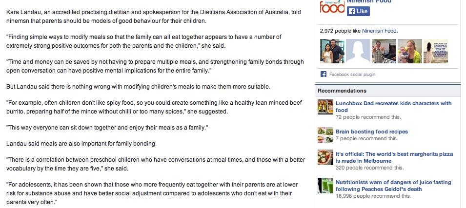 Kara Landau acting as a spokesperson for the Dietitians Association of Australia on ninemsn online.