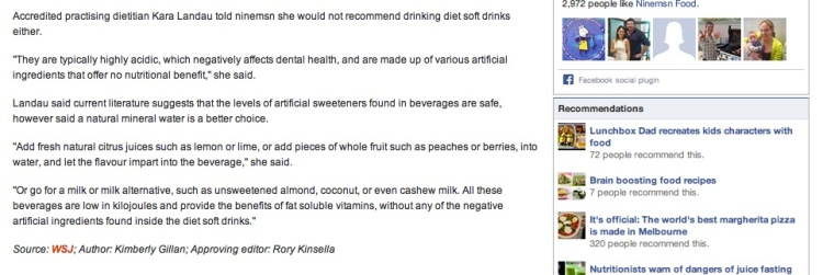 Kara Landau acting as a spokesperson for the Dietitians Association of Australia on ninemsn online.