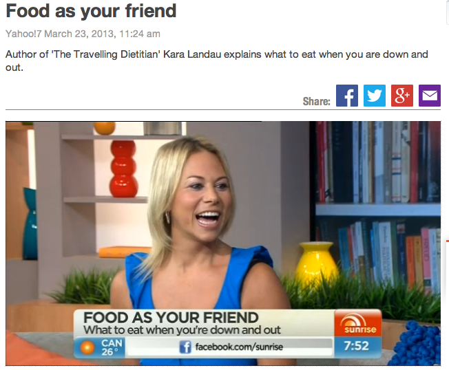 Kara Landau passionately promoting healthy eating on national television.