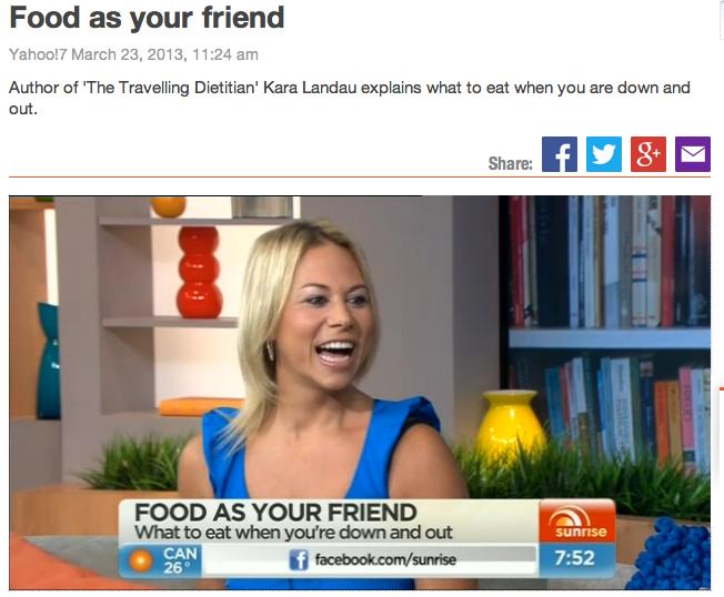Kara Landau passionately promoting healthy eating on national television.