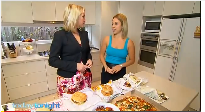 Kara Landau acting as an independent media dietitian on national television discussing fast food.