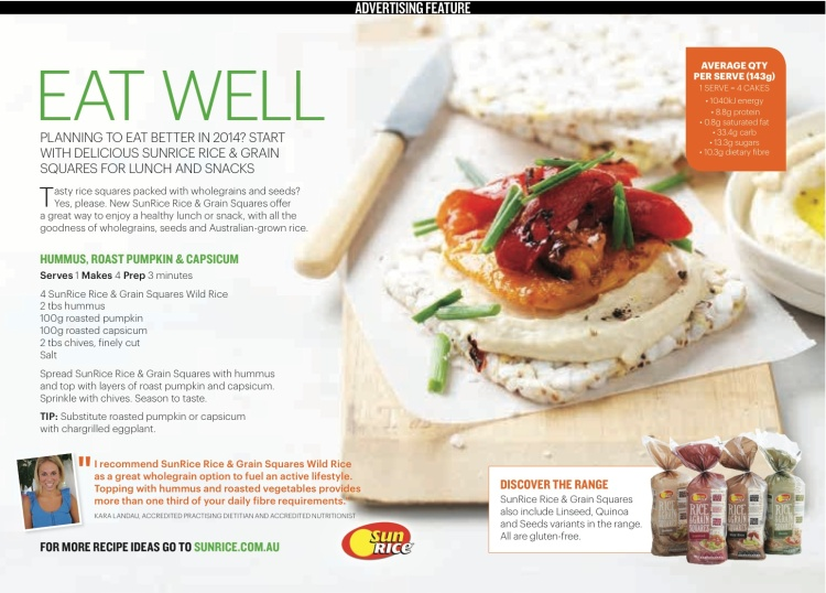 Kara Landau providing healthy recipe development and quotes for her client SunRices new product range.
