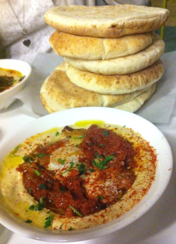 hummus and pita in Israel
