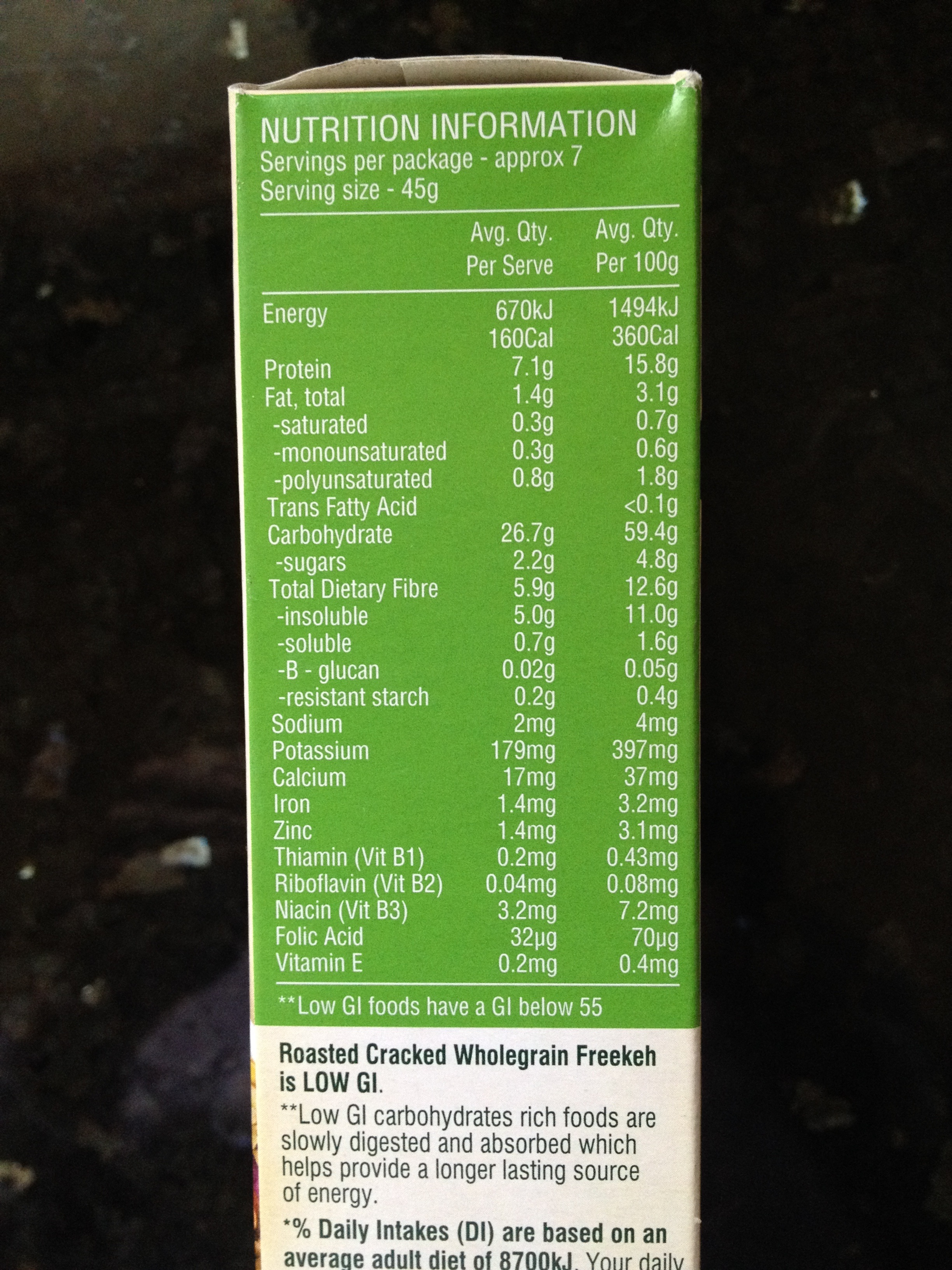 Another brands freekeh nutrition information