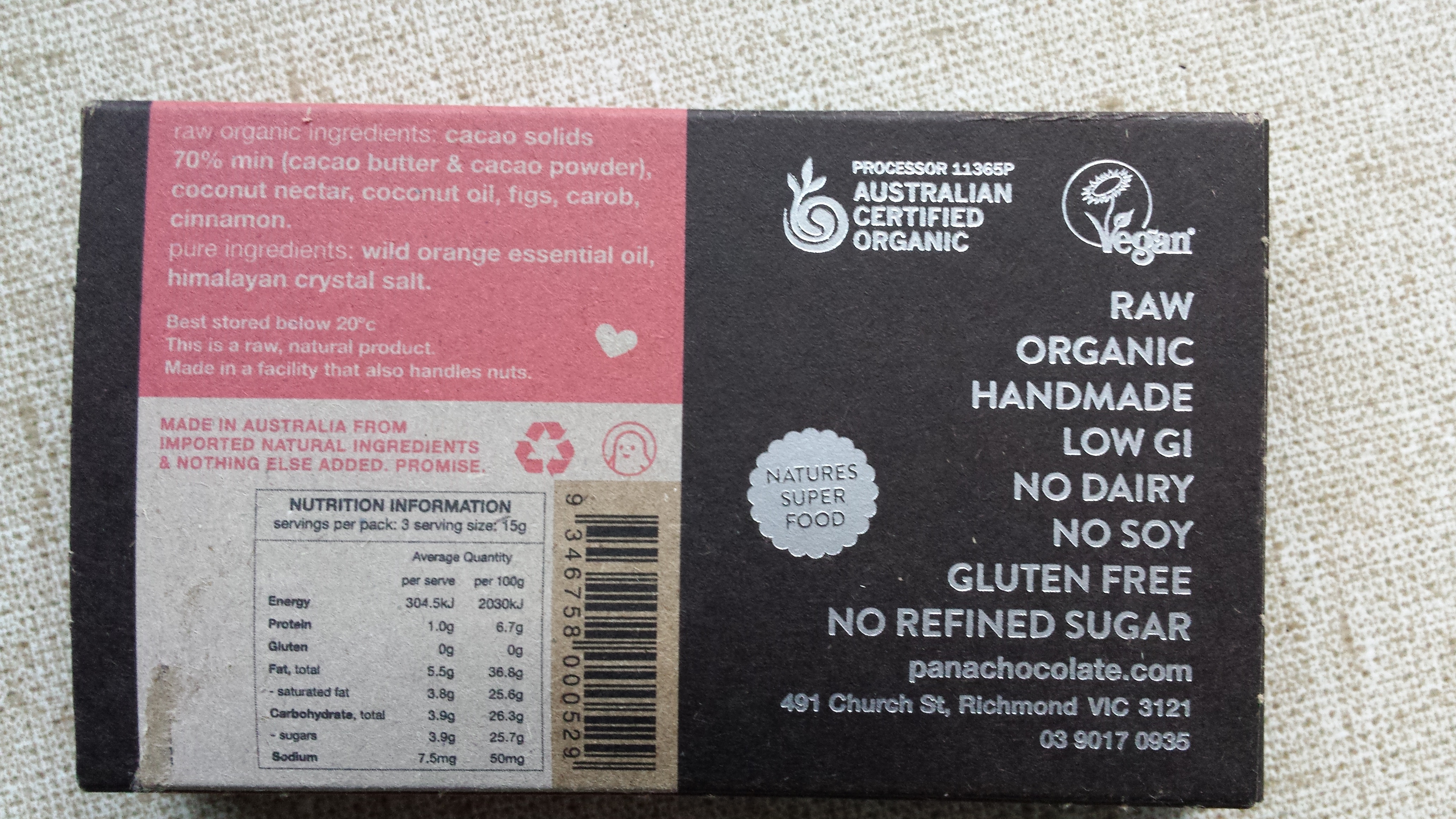 pana chocolate health and nutrition claims on  the packaging