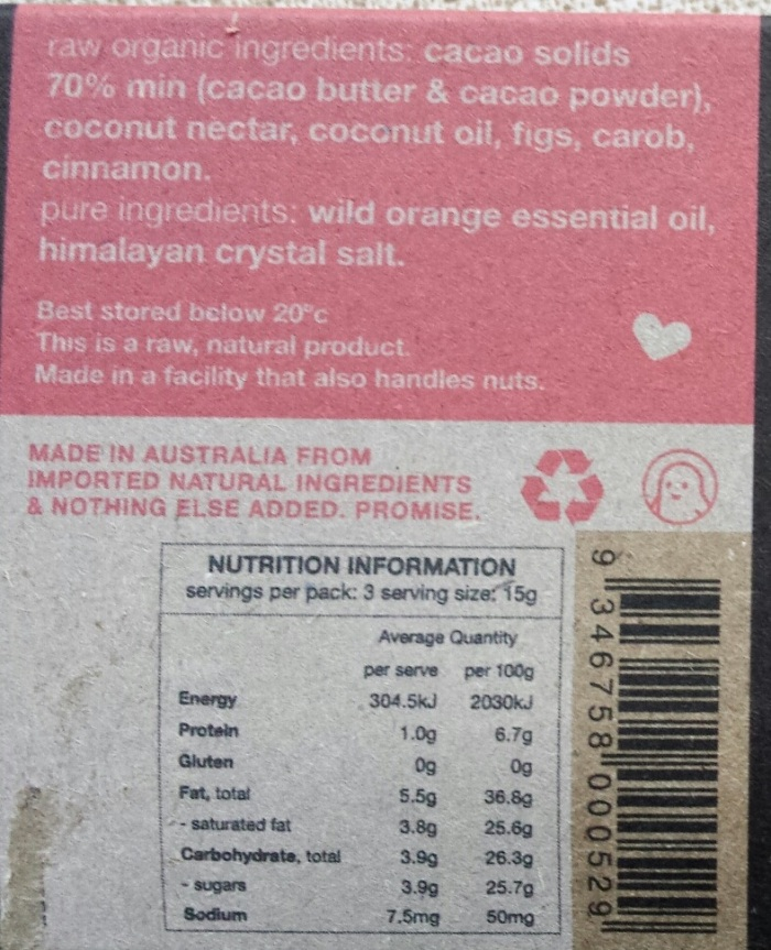 Pana chocolate nutrition information panel and ingredients list