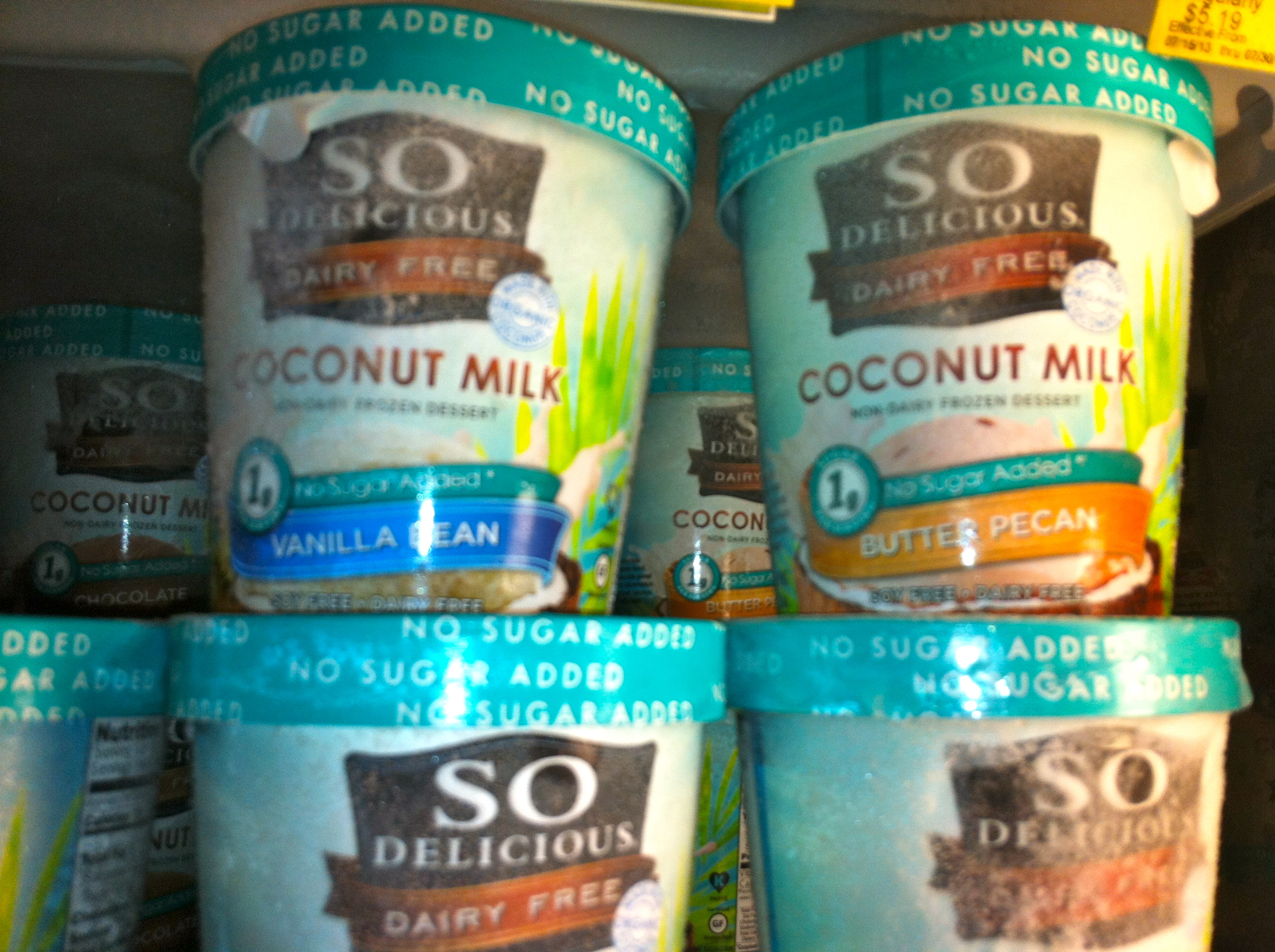 So delicious coconut milk ice-cream is dairy free and they have no added sugar varieties that are lower in calories than the regular varieties and much higher in fibre.