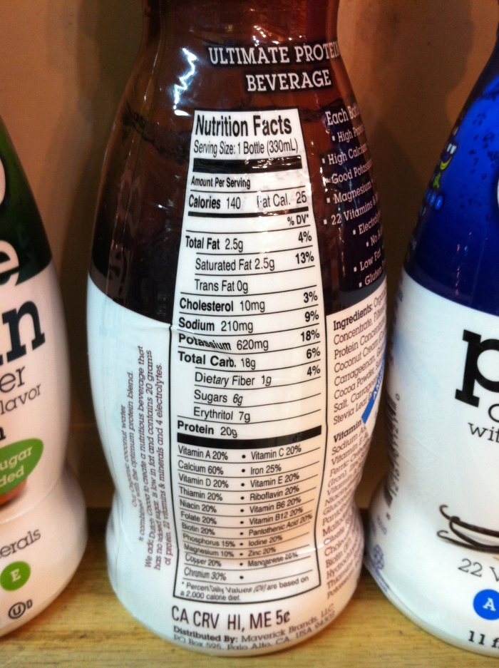 coco-libre protein coconut water - nutrition information