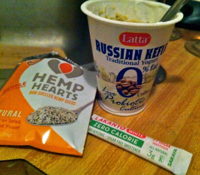 Kefir with hemp hearts and a natural sweetener - omega 3s and probiotics in one.